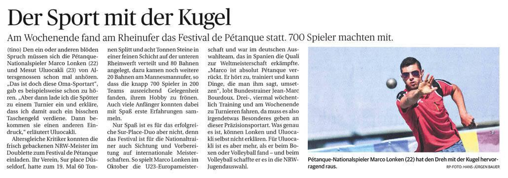 Bericht Rheinische Post 08.06.2015