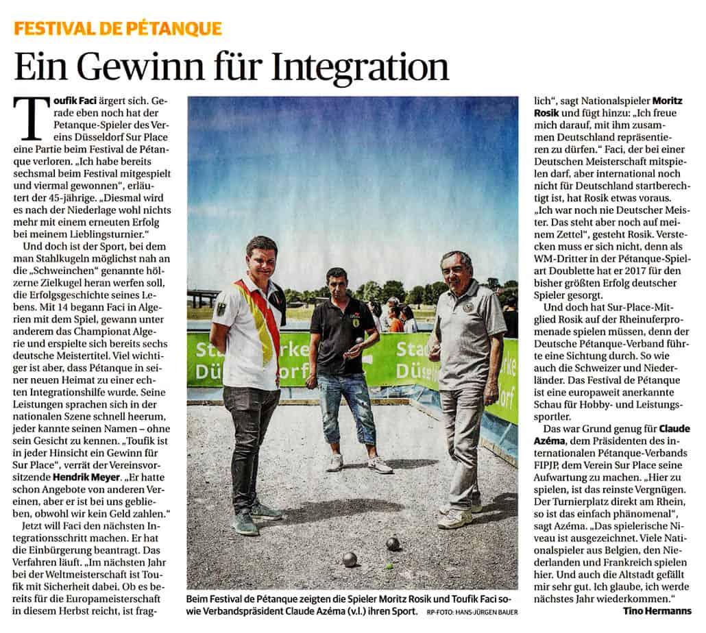 Bericht zum Festival de Pétanque aus der Rheinischen Post vom 11.06.2019