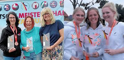 Die beiden Düsseldorfer Teams bei der Siegerehrung der Triplette Frauen-DM 2019
